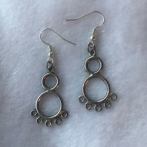 Silver abstract dangling earrings